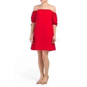 RACHEL Rachel Roy Off Shoulder Woven Dress, Red